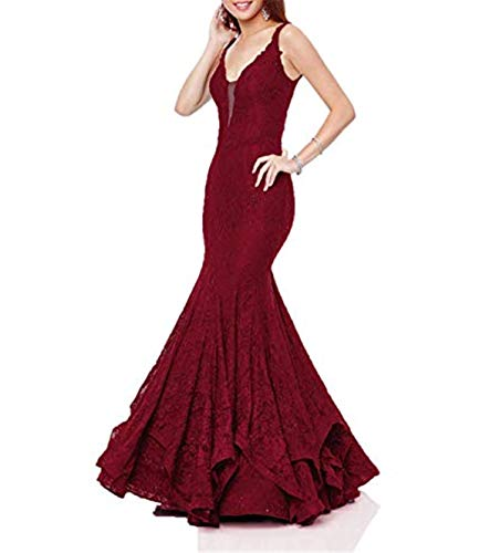 Scarisee Women's Mermaid/Trumpet V-Neck Prom Evening Dresses Formal Spaghetti Straps Lace Celebrity Party Gowns Burgundy -
