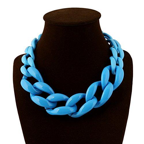 Plastic Neck Chains - truecharms Fashion Plastic Chain Around his Neck Statement Necklace Female Outstanding Women Suspension Choker Necklaces Collier Femme (Sky Blue)