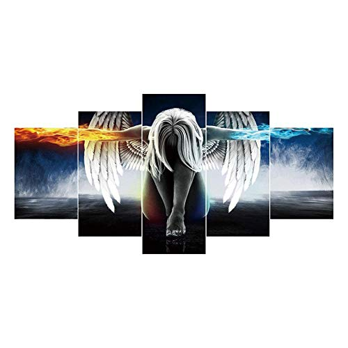 VKTECH Angel Wings Full Drill 5D DIY Diamond Painting Kit 5-Combination Picture Round Rhinestone Dotz Embroidery Canvas Cross Stitch Craft Gift for Living Room Bedroom Decor 38 X 18 - Large Diamond Wing Angel