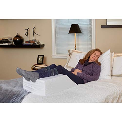 Hermell Products Inc. Elevating Leg Rest Pillow Pain Relief, 21 x 15 x 7 Inch, White (Eternal Rest Heart)