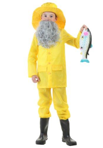 Big Boys' Fisherman Costume - M Gray,Yellow -