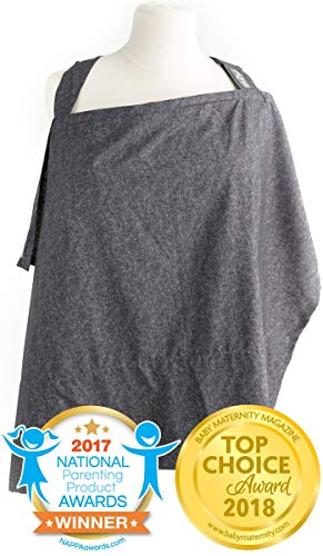 Nursing Cover with Sewn in Burp Cloth for Breastfeeding Infants | Free Matching Pouch | Best Apron Cover Up for Breast Feeding Babies | Covers Up Newborns in Public | 2017 Nappa Winner | Chambray (Best Breastfeeding Cover Up)