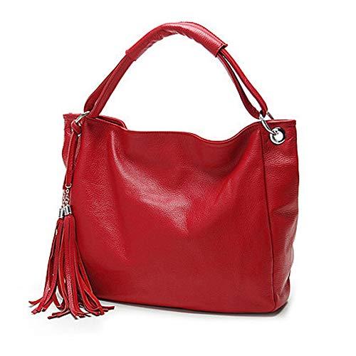 Soft Genuine Leather Tassel Women's Handbag Ladies Shoulder Bags Messenger Satchel Crossbody Purse,Red,China
