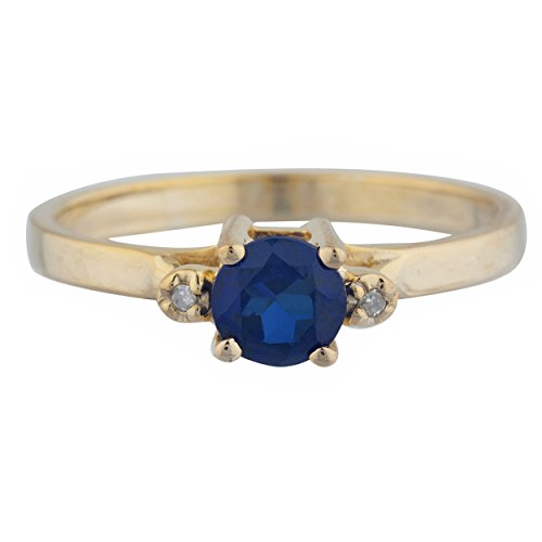 0.50 Ct Created Blue Sapphire & Diamond Round Ring 14Kt Yellow Gold Rose Gold Silver Blue Sapphire 14kt Gold Ring