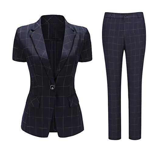Women's 10 Piece Plaid Suit Set One Button Notched Lapel Blazer and Pants Blue