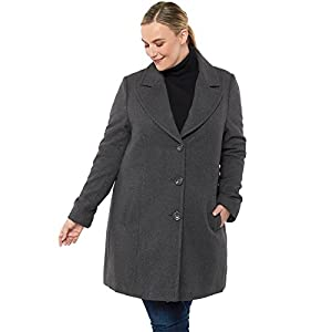 alpine swiss Women's Plus Size Wool Overcoat Classic Notch Lapel Walking Coat Gry 1XL