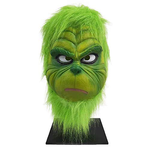 CHENLIN Light Green Grinch Mask with Santa Hat Costume Suit for Christmas (Light Green) -