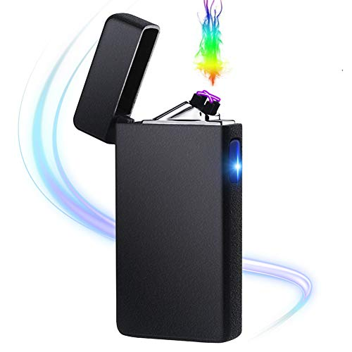 Windproof Cigarette Cigar Lighter - lcfun Dual Arc Plasma Lighter USB Rechargeable Atomic Lighter Windproof Flameless Electric Lighter for Cigar,Cigarette,Pipe,Candle (Matte Black)