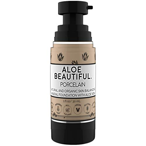 Organic Liquid Mineral Foundation Makeup with Aloe - All Natural Vegan Gluten Free Ingredients - Made In USA, ()