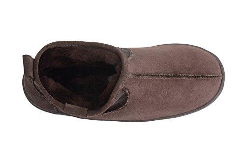 Rusnak Men Luxury Genuine Sheepskin Short Boot Slippers House Shoes Natural Wool Lining Brown jhkEcL