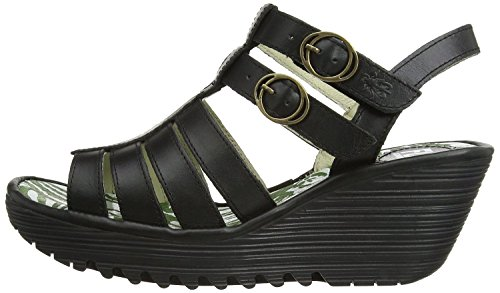 Fly London Ygor Schwarz Damen Leder Wedge Sommer Sandalen Schuhe