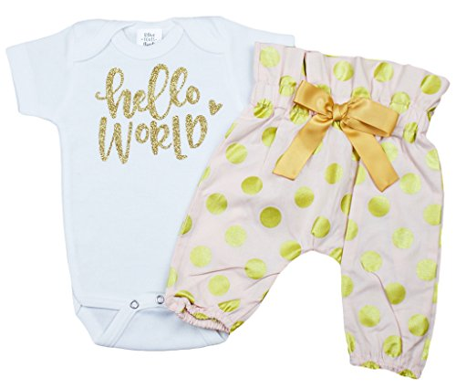 Price comparison product image Pink Baby Take Home Outfit Pants Baby Girl Coming Home Set Hello World
