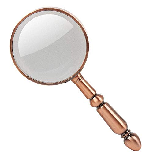 20X Handheld Portable Mini Magnifying Glass HD Lens for Book Reading, Jewelry Identification, Watches, DIY Crafts Carving and Repair, Bronze