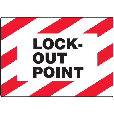 Polyester Lock-Out Point Safety Label - 3-1/2''h x 5''w, Black / Red / White - 100 Labels Per Roll