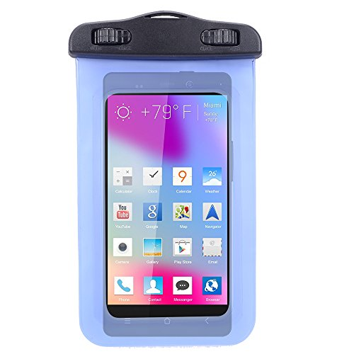 Universal Protective Waterproof Bag / Pouch / Cover / Case for BLU Vivo Air / Life 8 XL/ Life Play 2 / Studio C Mini with Responsive Screen Protector Windows and Strap Fit up to 5.5 Inch Ios Windows Android Smart Phone (Blue) by SumacLife