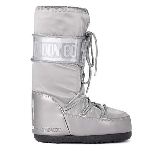 Moon Boot Unisex Adults Original Tecnica Glance Nylon Knee High Waterproof Boot - Silver - 8-9.5 Womens (Winter Moon Snow Boots)