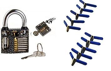 Lockpicking /Übungsschloss mit Fl/ügelklammern Padlock Shims Schloss /öffnen ohne Dietrich blaue Metall Klammer Lockpicking Handbuch!! !!