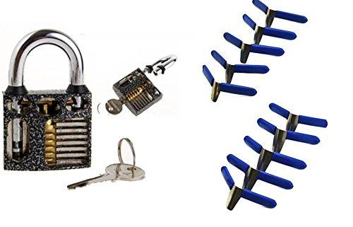 Lockpicking /Übungsschloss Lockpicking Handbuch!! mit Fl/ügelklammern Padlock Shims Schloss /öffnen ohne Dietrich blaue Metall Klammer !!