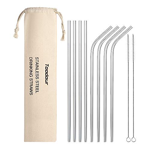 Metal Straws Reusable 8 Set, Stainless Steel Drinking Straws with 2 Cleaning Brush for Cocktail,