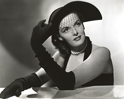 Posterazzi Jane Russell Portrait Halter Dress and Velvet Gloves with Black Lace Hat and Pearl Earrings Photo Poster Print, (30 x 24) ()