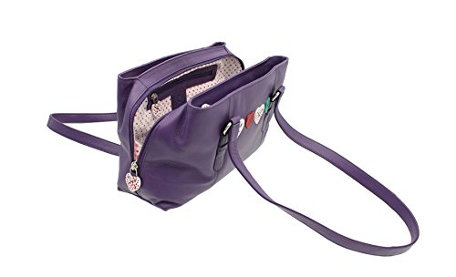 Leather Purple Shoulder Triple Purple Mala Leather Collection 30 Zip Bag LUCY 734 dwxx1vna