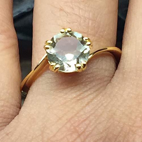 Natural 1.5ct Prasiolite Amethyst/Green Amethyst 14K Yellow Gold Vermeil Sterling Silver Ring sz 6, 7, 8, ()