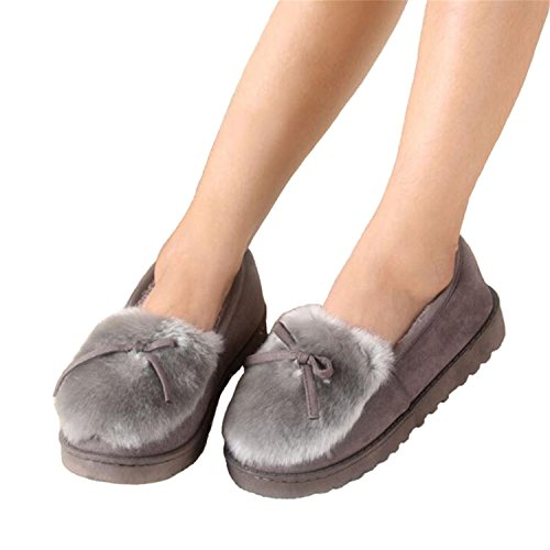 Autumn Black VAO Winter Beststore Women Bow Shoes Lovely Slip Ballet Size New Woman WFS252 40 Fur Loafers Comfort On Flats Cotton Warm xwAgqEgFC