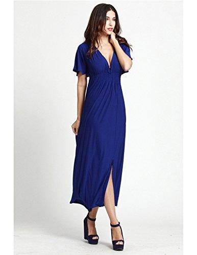 MODETREND Mujer Vestidos Largo Verano de V Cuello Vestido Partido para Playa Banquete Azul