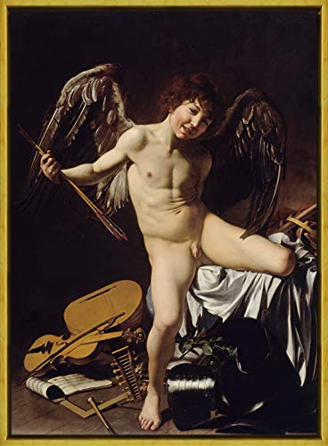 Berkin Arts Framed Michelangelo Merisi da Caravaggio Giclee Canvas Print Paintings Poster Reproduction(Cupid as Victor)