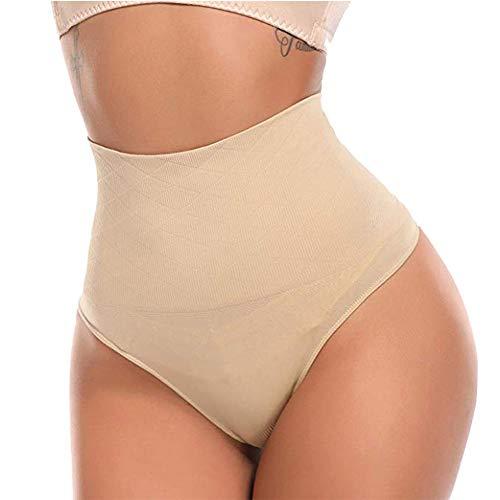 AIMILIA Butt Lifter Shapewear Sexy Thong Panties Underwear Tummy Control Women's Body Shaper Slimmer Waist Cincher Trainer Beige