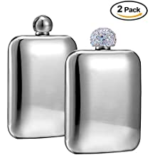 Booze Shot Flask- AB Crystal Lid Creative 304 Stainless Steel Wine Alcohol Liquor Flask for Women Girls Men Party Hand size Flask-6OZ (flask 2pcs, 1)