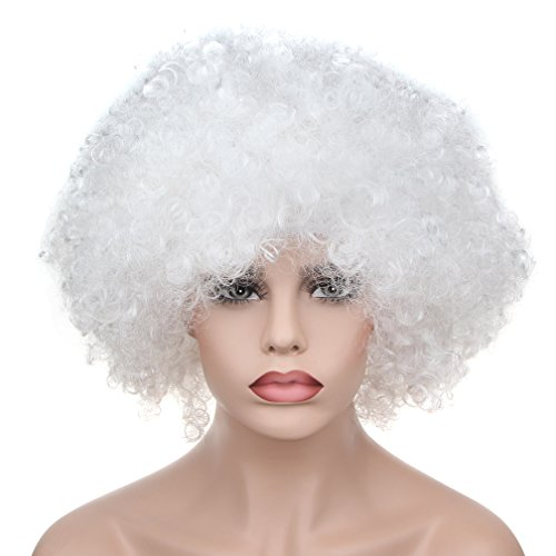 [Afro Fluffy Wig Hair Curl Wigs Synthetic Fiber Hairpiece - Party Disco Clown Hair Football Fan Adult Child Costume Wig] (Work Team Costumes)