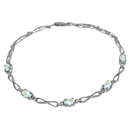 ALARRI 1.16 Carat 14K Solid White Gold Tennis Bracelet Aquamarine Diamond Size 7 Inch Length by ALARRI