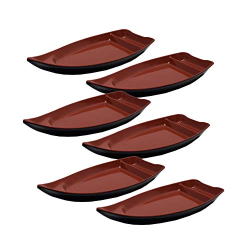 Set of 6, The Elixir Blue Sushi Serving Boat, 10 x 4 inches, Sushi Boat Plate with Dipping Sauce Compartment