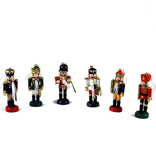 Intricate Nutcracker Soldiers Hand-Painted Hanging Christmas Ornaments - Set of (Christmas Wooden Soldiers)