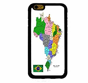 Travel Map Of Brazil with Flag iPhone 6 Plus (5.5 Inch Screen) Rubber Case