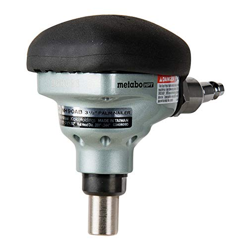 "Metabo HPT Palm Nailer, Pneumatic, Accepts Nails From 2-1/2"" to 3-1/2"", 360° Swivel Fitting, Over-Molded Rubber Grip, Ideal For Joist Hangers & Metal Connectors (NH90AB)"