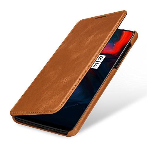 StilGut OnePlus 6 Case. Leather Book Type Flip Cover for OnePlus 6, Folio Case, Cognac Brown