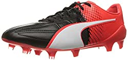 PUMA Men's Evospeed 1.5 Lth Fg Soccer Shoe, Puma Black/Puma White, 7 M US