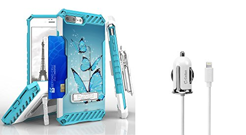 Apple iPhone 8 Plus / 7 Plus - Accessory Bundle: [Blue Butterflies] Dual Layer Shockproof [Military Grade] Protective Case, [Apple MFI Certified] 12W Lightning Car Charger, Atom LED (Blue Butterfly Charger)