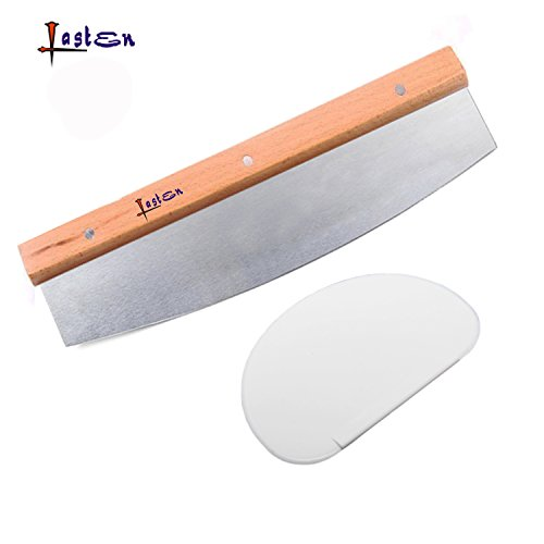 Lasten Pizza Cutter & Scraper, Stainless Steel Pizza Knife Cutter with Wooden Handle & Butter Plastic Scraper, Best Way to Cut Pizzas, Cheese, Cake and More(1 Set) (Round Cheese Cutter compare prices)