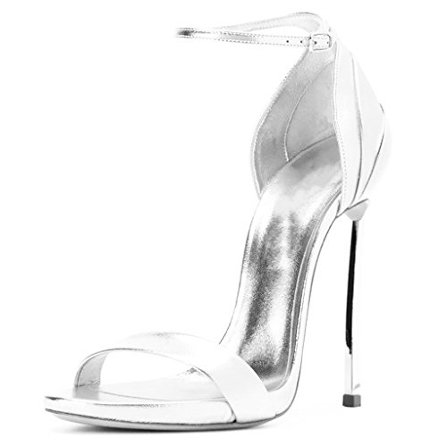 À Party La Femmes Girl's Buckle Tempérament High Mode Sandales Open Heels Silver Toe xwqqIS6