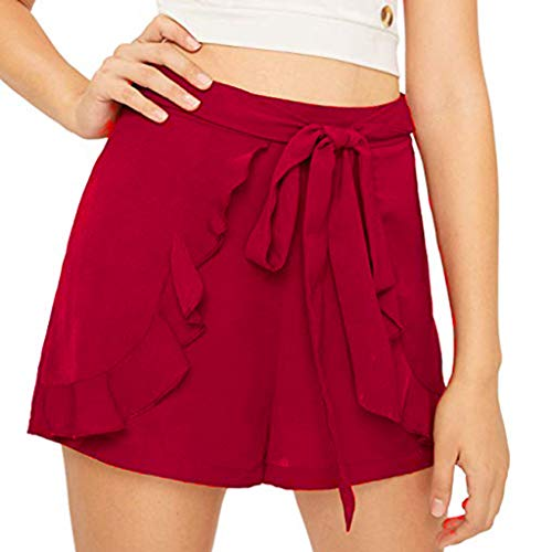 Jumaocio Shorts Women High Elastic Waist Wide Leg Chiffon Culottes Shorts Casual Comfy Culottes Shorts Elastic Waist Wide Leg Shorts Walking Shorts Red