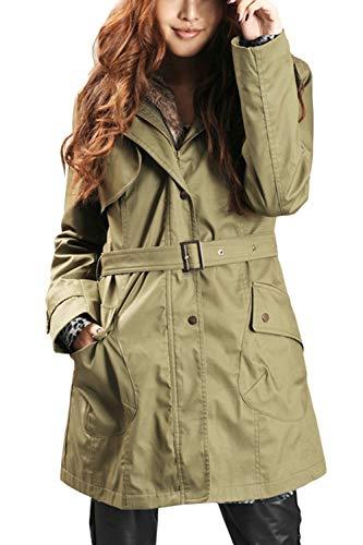 Formato Full Cinghia Rivestimento Spesso Outwear Zip Con La Fleece Donne Il Verde Più 16ZwPW