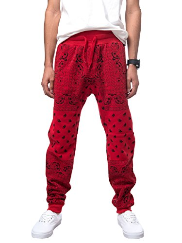 URBAN K Mens Fleece Bandana Paisley Joggers Drawstring Jogger Pants