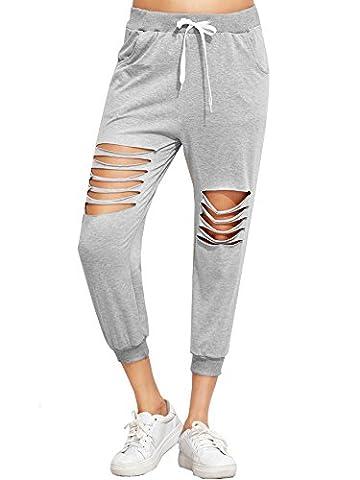 SweatyRocks Pants Women Heather Grey Ripped Drawstring Yoga Workout Sweatpants (Large, Grey#1)