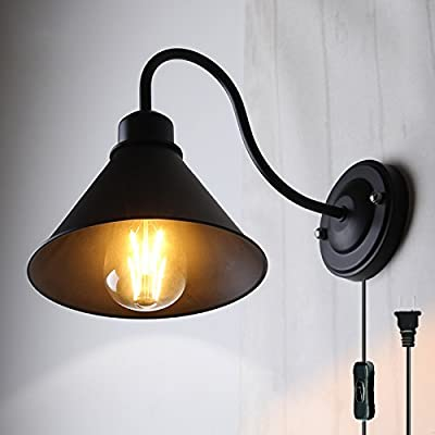 Kiven Vintage Industrial Wall Lamp Iron Balcony Wall Lamp Bedroom Living Room Bending Tube Wall Sconces On/Off Plug-In Switch Cord Bulbs Included