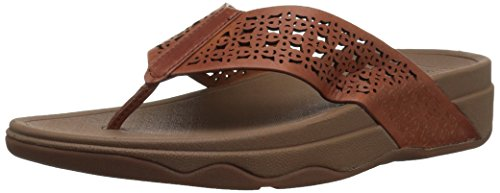 FitFlop Women's Leather Lattice Surfa Floral Flip-Flop, Dark Tan, 8 M US by FitFlop