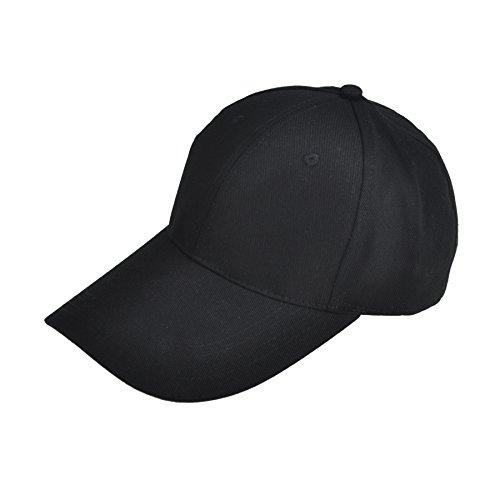 (Opromo 100% Cotton Baseball Cap Hat Men Women Classic Adjustable Plain Dad Hat-Black)
