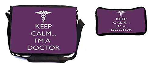 Rikki Knight Keep Calm I'm a Doctor Purple Color Design Multifunction Messenger Bag - School Bag - Laptop Bag - with Padded Insert for School or Work - Includes Pencil Case by Rikki Knight